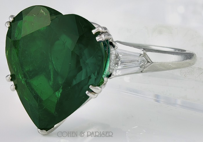 ring emerald uk heart co engagement victorian london shaped
