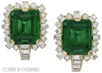 David Webb Emerald and diamond earrings