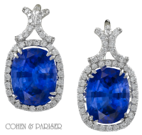 Natural Burma Sapphire and Diamond Earring