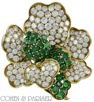 French diamond and emerald brooch