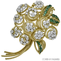 Van Cleef and Arpels Emerald and Diamond Brooch