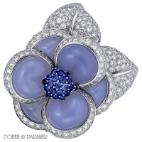 Van Cleef and Arpels Chalcedony, Sapphire and Diamond Pin
